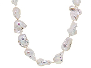Baroque White Cultured Freshwater Pearl Silver Strand Necklace 28 inch
