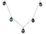 Necklace 9-10mm Cultured Tahitian Pearl Station Oval Link Sterling Silver