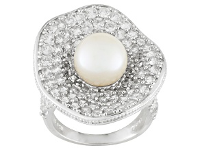 White Cultured Freshwater Pearl Rhodium Plated Silver Ring 9-9.5mm