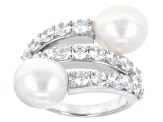 White Cultured Freshwater Pearl And Diamond Simulant Silver Ring