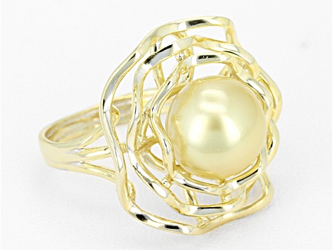 Golden Cultured South Sea Pearl 14k Yellow Gold Over Sterling Silver Ring