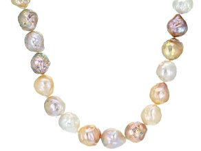 Baroque Multi-Color Cultured Freshwater Pearl Sterling Silver Necklace