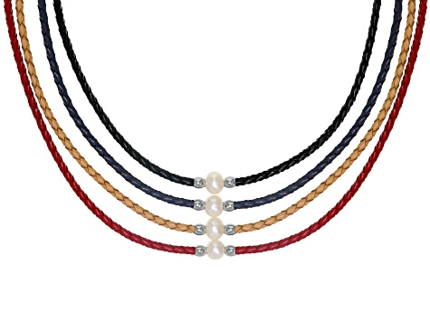 White Cultured Freshwater Pearl, Imitation Leather Silver Tone Necklace Set