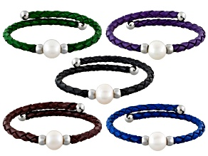 White Cultured Freshwater Pearl Imitation Leather Silver Tone Bangle Set