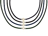 White Cultured Freshwater Pearl Imitation Leather Silver Tone Necklace Set