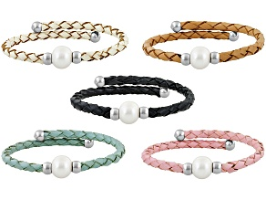 Cultured Freshwater Pearl, Imitation Leather Stainless Steel Bracelet Set