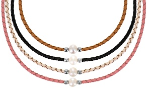 Cultured Freshwater Pearl, Imitation Leather Stainless Steel Necklace Set