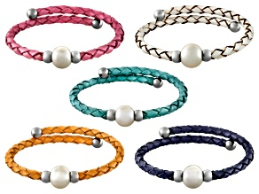 Cultured Freshwater Pearl Imitation Leather Silver Tone Bangle Set