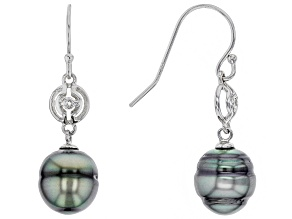 Cultured Tahitian Pearl, White Topaz Rhodium Over Silver Dangle Earring
