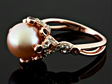 Cultured Freshwater Pearl, Rhodolite, Topaz 18k Rose Gold Over Silver Ring