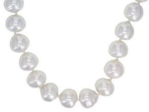 White Cultured Australian South Sea Pearl Sterling Silver Strand Necklace 18 inch