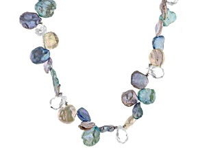 Keshi Cultured Freshwater Pearl, Crystal Silver Strand Necklace 20 inch