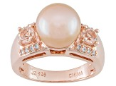 Cultured Freshwater Pearl, Morganite, Zircon 18k Rose Gold Over Silver Ring
