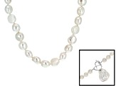 White Cultured Freshwater Pearl Sterling Silver Strand Necklace 20 inch