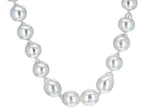 Silver Cultured South Sea Pearl Rhodium Over Silver Strand Necklace 17 inch