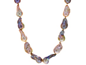 Baroque Multi-Color Cultured Freshwater Pearl Silver Necklace 18 inch