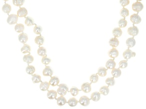 White Cultured Freshwater Pearl 62 Inch Endless Strand Necklace Set of 2