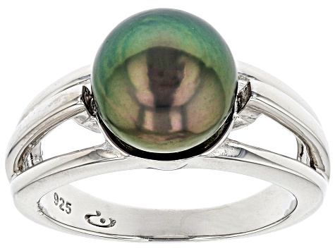 Cultured Tahitian Pearl 8-9mm Rhodium Over Sterling Silver Ring