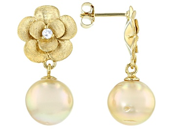 Picture of Golden Cultured South Sea Pearl And White Zircon 18k Yellow Gold Over Silver Flower Drop Earrings