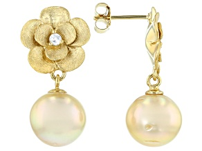 Golden Cultured South Sea Pearl & White Zircon 18k Yellow Gold Over Sterling Silver Earrings