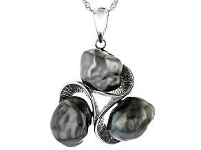 Cultured Keshi Tahitian Pearl Rhodium Over Sterling Silver Pendant With 18 Inch Chain