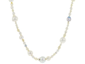 Multi-Color Cultured Akoya Pearl Rhodium Over Sterling Silver 22 Inch Necklace
