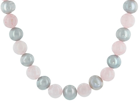 Silver Cultured Freshwater Pearl & Rose Quartz Rhodium Over Sterling Silver 18 Inch Necklace