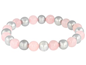 Silver Cultured Freshwater Pearl & Rose Quartz Stretch Bracelet