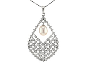 White Cultured Freshwater Pearl & Cubic Zirconia 2.76ctw Rhodium Over Silver Pendant With Chain