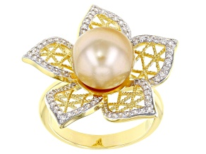 Golden Cultured South Sea Pearl Rhodium & 18k Yellow Gold Over Sterling Silver Flower Ring