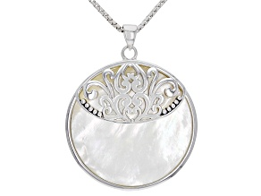 White Mother-of-Pearl Rhodium Over Sterling Silver Pendant With Chain