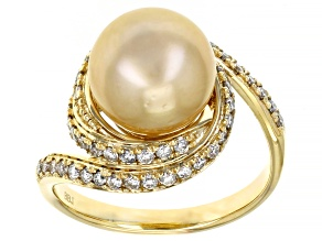 Golden Cultured South Sea Pearl With Lab-Grown Diamonds 0.56ctw 14k Yellow Gold Ring