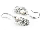 White Cultured Freshwater Pearl & Cubic Zirconia 2.53ctw Rhodium Over Sterling Silver Earrings