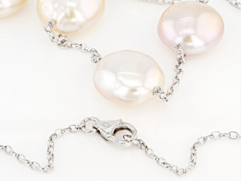 Multi-Color Cultured Freshwater Pearl Rhodium Over Sterling Silver 20 Inch Necklace