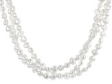 White Cultured Freshwater Pearl Rhodium Over Silver 20 Inch Plus 2 Inch Extender Multi-Row Necklace