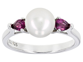 White Cultured Freshwater Pearl With Rhodolite 0.46ctw Rhodium Over Sterling Silver Ring