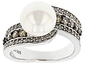 White Cultured Freshwater Pearl With Diamonds 0.37ctw & Zircon Rhodium Over Sterling Silver Ring