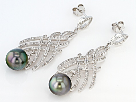 Cultured Tahitian Pearl & White Zircon 0.46ctw Rhodium Over Sterling Silver Dangle Earrings