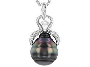 Cultured Tahitian Pearl 14mm With White Zircon Rhodium Over Sterling Silver Pendant With Chain