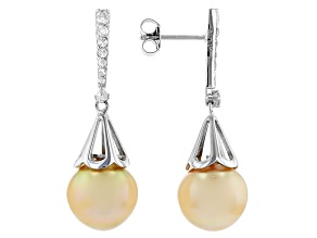 Golden Cultured South Sea Pearl & White Zircon 0.88ctw Rhodium Over Sterling Silver Earrings