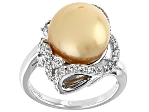 Golden Cultured South Sea Pearl & White Zircon 1.78ctw Rhodium Over Sterling Silver Ring