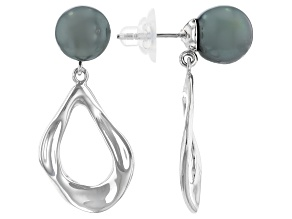 Cultured Tahitian Pearl Rhodium Over Sterling Silver Earrings