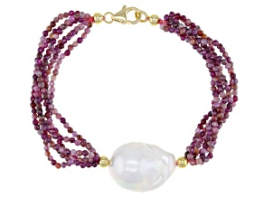 Genusis™ Cultured Freshwater Pearl & Ruby 18k Yellow Gold Over Sterling Silver Bracelet