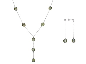 Pistachio Green Cultured Freshwater Pearl Rhodium Over Sterling Silver Necklace & Earrings Set