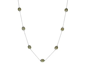 Pistachio Green Cultured Freshwater Pearl Rhodium Over Sterling Silver Station Necklace