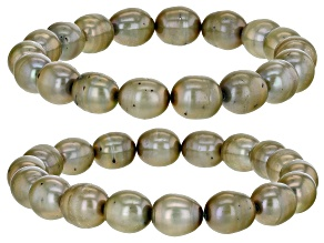Pistachio Green Cultured Freshwater Pearl Stretch Bracelet Set of 2