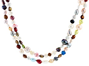 Multi-Color Cultured Freshwater Pearl 62 Inch Endless Strand Necklace