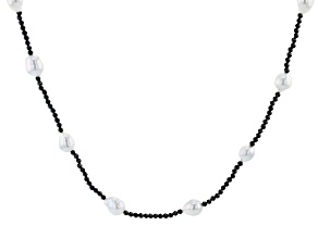 White Cultured Freshwater Pearl & Black Spinel 32 Inch Endless Necklace