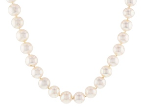 White Cultured Freshwater Pearl Rhodium Over Sterling Silver Strand Necklace