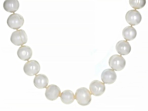 White Cultured Freshwater Pearl Rhodium Over Sterling Silver 20 Inch Strand Necklace